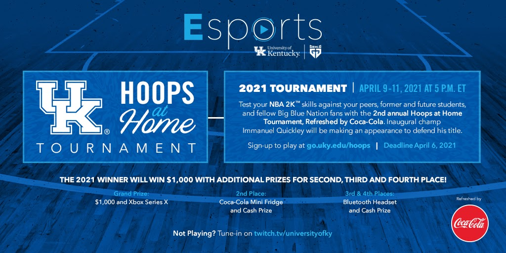 "College Press Releases GEN.G AND UNIVERSITY OF KENTUCKY HOST ""HOOPS AT HOME"" NBA 2K TOURNAMENT BRINGING TOGETHER STUDENTS, FACULTY, ALUMNI AND FANS"